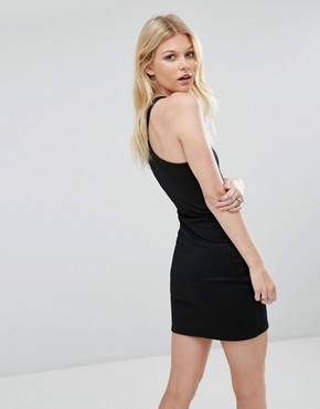 photo Exclusive Ribbed Bodycon Halterneck Dress by Missguided Petite, color Black - Image 2