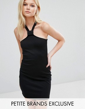 photo Exclusive Ribbed Bodycon Halterneck Dress by Missguided Petite, color Black - Image 1