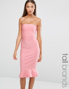 photo Exclusive Premium Bandage Frill Hem Dress by Missguided Tall, color Rose - Image 1