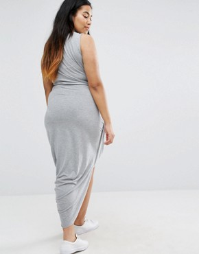 photo Drape Sleeveless Dress by Missguided Plus, color Grey - Image 2