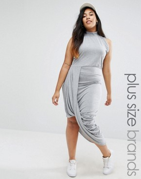 photo Drape Sleeveless Dress by Missguided Plus, color Grey - Image 1