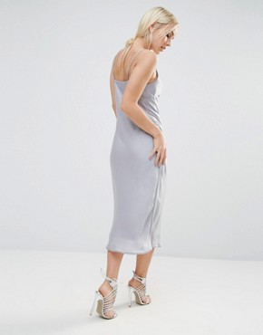 photo Satin Midi Slip Dress by New Look Petite, color Silver - Image 2