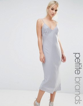 photo Satin Midi Slip Dress by New Look Petite, color Silver - Image 1