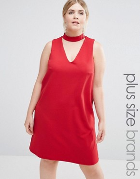 photo Choker Shift Dress by New Look Plus, color Red - Image 1