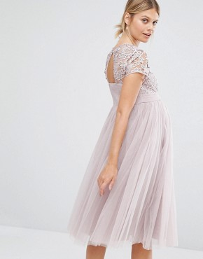 photo Short Sleeve Lace Bodice Mini Dress with Tulle Skirt by Little Mistress Maternity, color Blush - Image 2