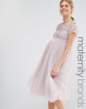 photo Short Sleeve Lace Bodice Mini Dress with Tulle Skirt by Little Mistress Maternity, color Blush - Image 1