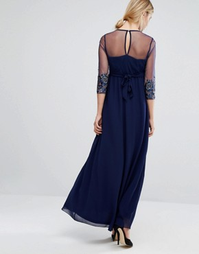photo Embellished Sheer Bodice Maxi Dress by Little Mistress Maternity, color Navy - Image 2