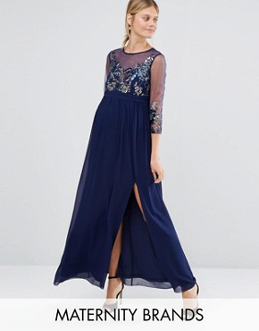 photo Embellished Sheer Bodice Maxi Dress by Little Mistress Maternity, color Navy - Image 1