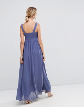 photo Plunge Front Maxi Dress with Embellished Waist by Little Mistress Maternity, color Grey - Image 2