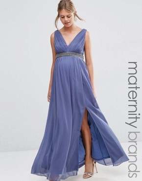 photo Plunge Front Maxi Dress with Embellished Waist by Little Mistress Maternity, color Grey - Image 1