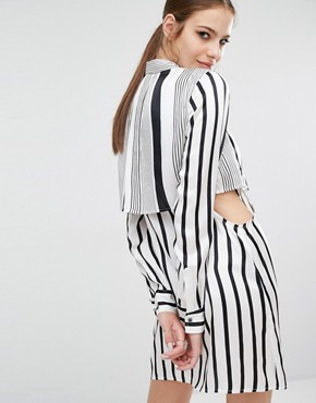 photo Peek-a-boo Silk Shirt Dress by Kendall + Kylie, color White/Black Stripe - Image 2