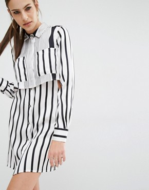 photo Peek-a-boo Silk Shirt Dress by Kendall + Kylie, color White/Black Stripe - Image 1