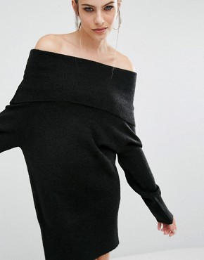 photo Fuzzy Knit Tunic Dress by Kendall + Kylie, color Black - Image 1