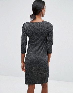photo Glitter Knot Front Jersey Dress by Mamalicious, color Black - Image 2