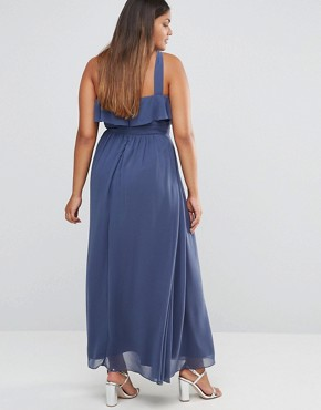 photo High Neck Ruffle Detail Maxi Dress with Thigh Split by Little Mistress Plus, color Grey - Image 2