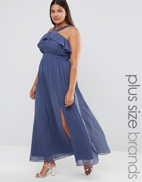 photo High Neck Ruffle Detail Maxi Dress with Thigh Split by Little Mistress Plus, color Grey - Image 1