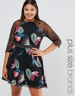 photo Printed Skater Dress with Lace Sleeves by Little Mistress Plus, color  - Image 1
