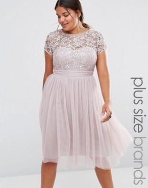 photo Short Sleeve Lace Bodice Midi Dress with Tulle Skirt by Little Mistress Plus, color Pink - Image 1