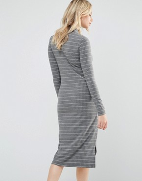 photo Striped Jersey Bodycon Dress With High Neck by Mamalicious, color Grey - Image 2