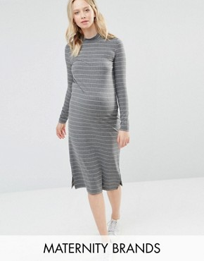 photo Striped Jersey Bodycon Dress With High Neck by Mamalicious, color Grey - Image 1