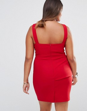 photo Asymmetric Pleat Detail Pencil Dress by Little Mistress Plus, color Red - Image 2