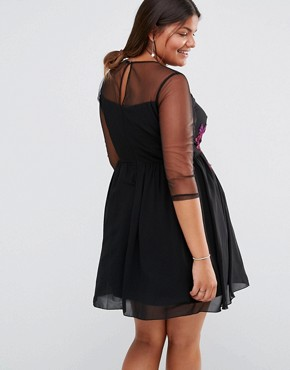 photo Sheer Mesh Detail Mini Skater with Contrast Floral Embroidery by Little Mistress Plus, color Black - Image 2