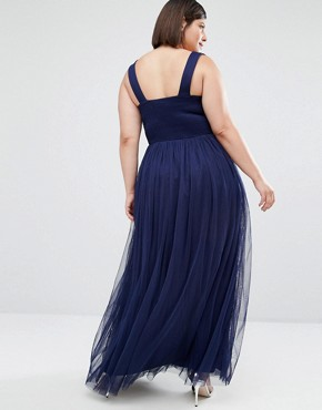photo Embellished Waist Maxi Dress by Little Mistress Plus, color Navy - Image 2