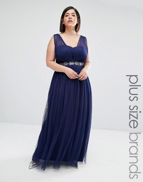 photo Embellished Waist Maxi Dress by Little Mistress Plus, color Navy - Image 1