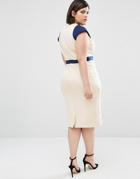 photo Embroidered Pencil Dress by Little Mistress Plus, color Cream - Image 2