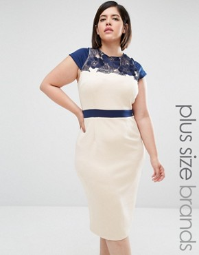 photo Embroidered Pencil Dress by Little Mistress Plus, color Cream - Image 1