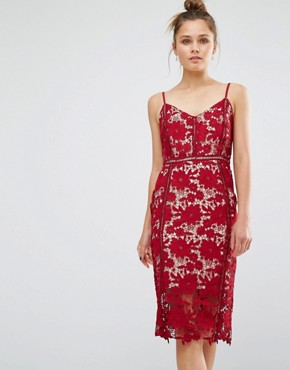 photo Lace Bodycon Dress by New Look Premium, color Rosewood - Image 1