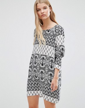 photo Nancy Boho Printed Tunic Dress by Vero Moda, color Black - Image 1