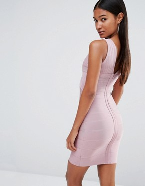 photo Bandage Plunge Front Midi Dress by WOW Couture, color Blush - Image 2