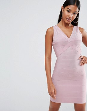 photo Bandage Plunge Front Midi Dress by WOW Couture, color Blush - Image 1