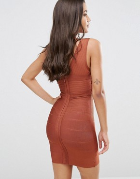 photo Bandage Plunge Front Midi Dress by WOW Couture, color Maroon - Image 2