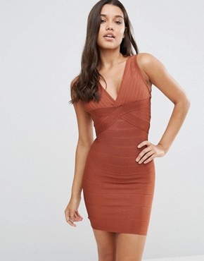 photo Bandage Plunge Front Midi Dress by WOW Couture, color Maroon - Image 1