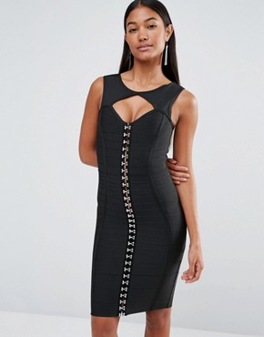 photo Bandage Dress with Hook and Eye by WOW Couture, color Black - Image 1