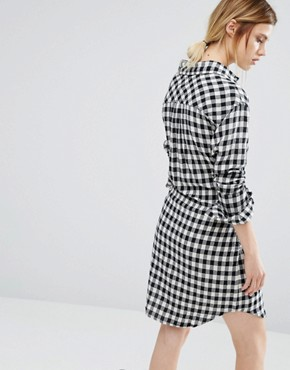 photo Gingham Shirt Dress with Tie Waist by Current/Elliott, color Gingham - Image 2