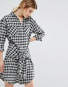 photo Gingham Shirt Dress with Tie Waist by Current/Elliott, color Gingham - Image 1