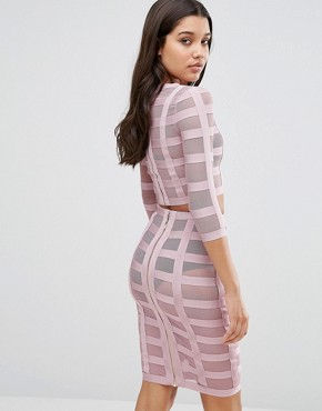 photo Co-ord In Bandage Mesh by WOW Couture, color Blush - Image 2