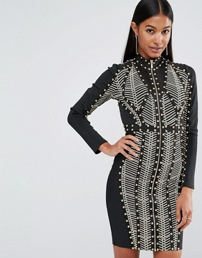 photo Longsleeved Bandage Dress with Allover Studs by WOW Couture, color Black/Sand - Image 1