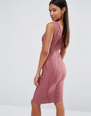 photo Bandage Dress with Allover Stud Detail by WOW Couture, color Rose Brown - Image 2
