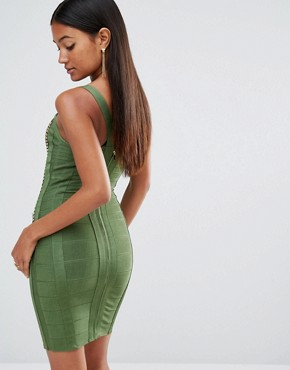 photo Bandage Dress with Gold Bars by WOW Couture, color Dark Olive - Image 2