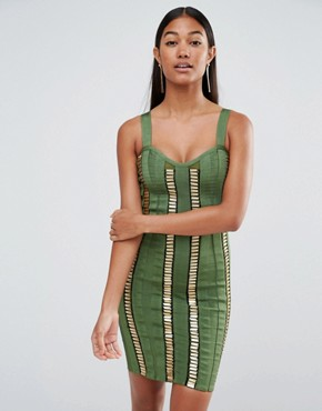 photo Bandage Dress with Gold Bars by WOW Couture, color Dark Olive - Image 1