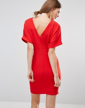 photo Smart Woven Mini Dress with V Back by ASOS TALL, color Red - Image 2