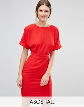 photo Smart Woven Mini Dress with V Back by ASOS TALL, color Red - Image 1