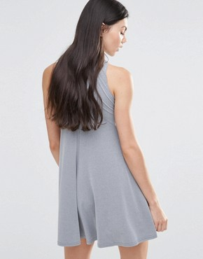 photo High Neck Keyhole Skater Dress by Love, color Grey - Image 2