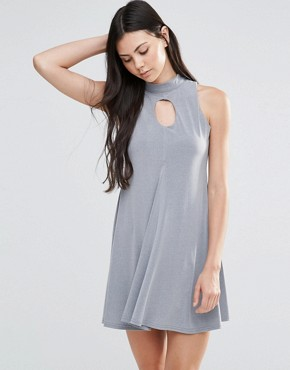 photo High Neck Keyhole Skater Dress by Love, color Grey - Image 1