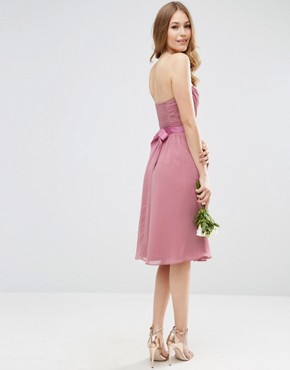 photo Chiffon Bandeau Midi Dress with Detachable Corsage by ASOS WEDDING, color Rose Pink - Image 2