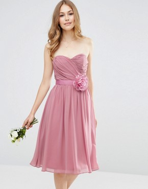 photo Chiffon Bandeau Midi Dress with Detachable Corsage by ASOS WEDDING, color Rose Pink - Image 1